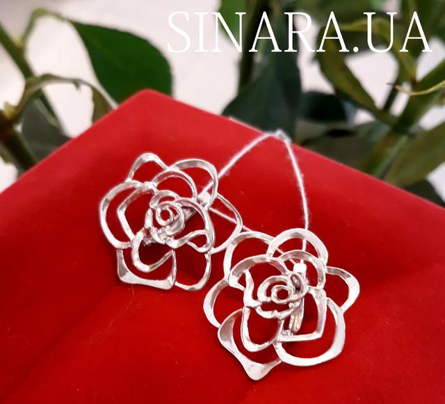 Серьги Розы серебро - Серебряные серьги Роза фото 1