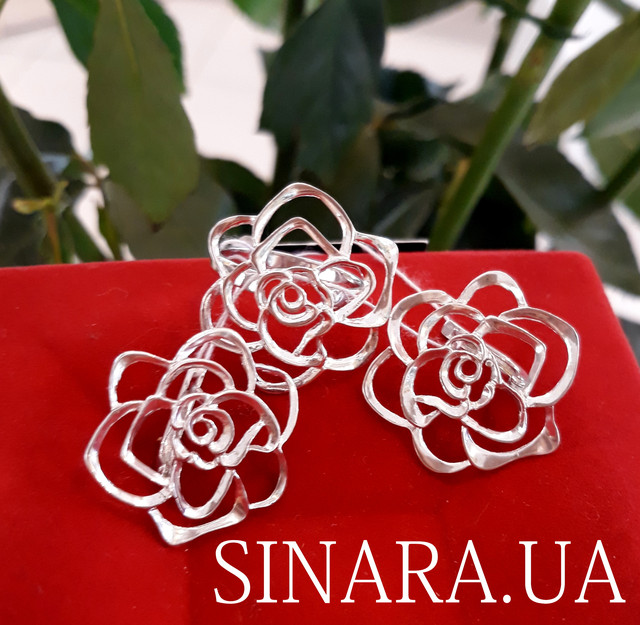 Серьги Розы серебро - Серебряные серьги Роза фото 3