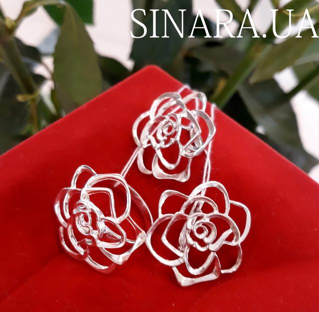 Серьги Розы серебро - Серебряные серьги Роза фото 5