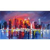 """Картина маслом """"Нью Йорк в вечернем зареве"""""""