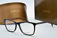 Оправа прямоугольная Gucci черная с коричневым, фото 1
