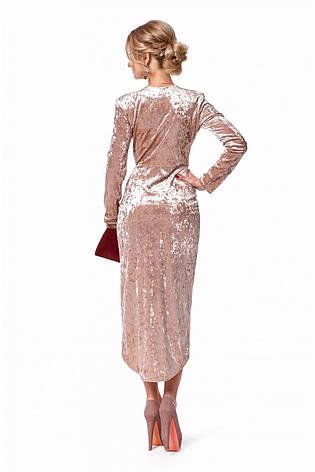 Роскошое вечернее асимметричное платье с запахом из бархата, фото 2