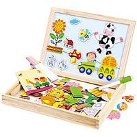 Игра в деревянной коробке с магнитными пазлами - Ферма, 102 дет, Bino