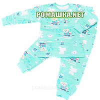 Байковая пижама для новорожденного р. 80-86 с начесом ткань ФУТЕР 100% хлопок ТМ Алекс 3487 Бирюзовый 80 А