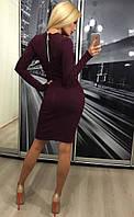 Облегающее тёплое длинное ангоровое платье миди с молнией на спине слива марсала, фото 1