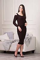 Стильное трикотажное платье Эстель шоколадного цвета