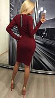 Облегающее тёплое длинное ангоровое платье миди с молнией на спине бордовое, фото 1
