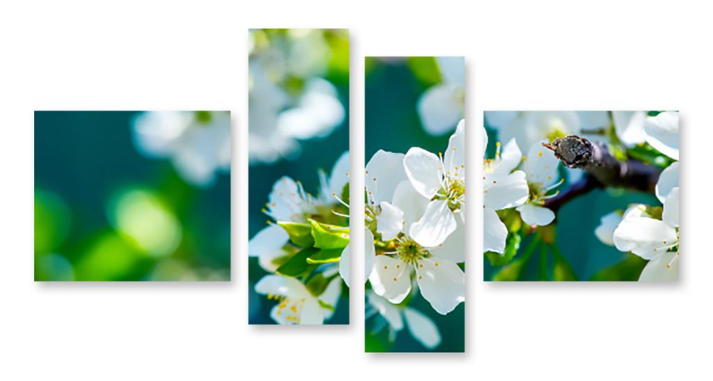 Модульная картина листья и цветы