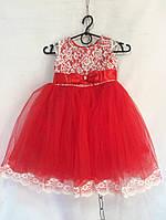 Детское нарядное платье   3-4 года,красное