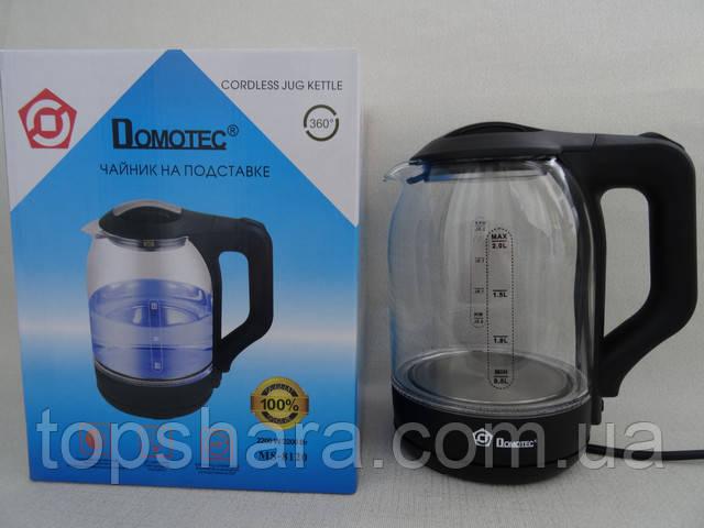 Электрочайник стеклянный с фиолетовой подсветкой Domotec MS 8120 на 2 литра мощностью 2200W цвет черный