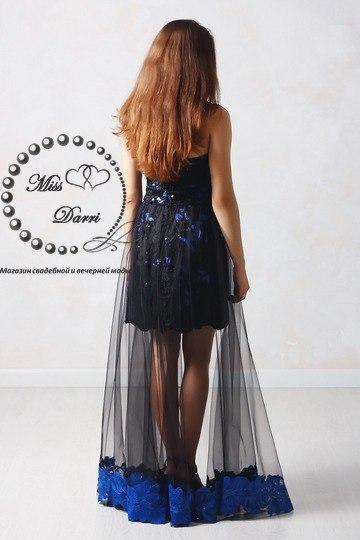 6574a262ff5 Вечернее выпускное платье-трансформер синее с черным