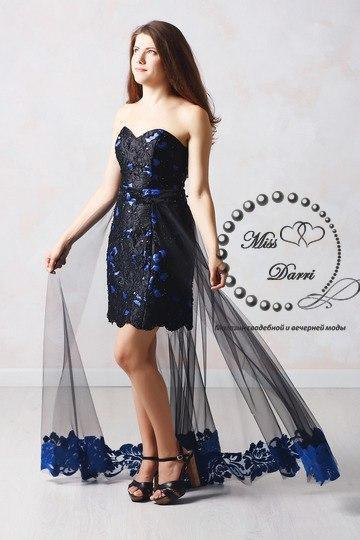 9ea65c9a432 Вечернее выпускное платье-трансформер синее с черным - Магазин свадебной и  вечерней моды Miss Darri