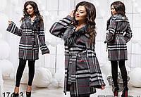 Женское кашемировое пальто в клетку 42-46