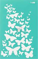 Трафарет многоразовый самоклеющий Фоновый №1400 серия Бабочки  13x20 мм Rosa Talent