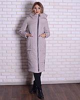 Зимняя длинная куртка - пуховик с капюшоном-воротником