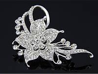 Брошь хрустальный цветок Снежной Королевы