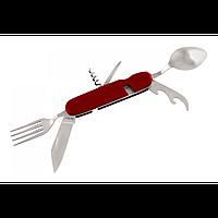 Нож многофункциональный. Мультитул. Нож + вилка + ложка. Штопор, открывашка. Нож туриста.