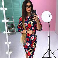 Цветочное платье футляр