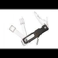Многофункциональный нож. Нож мультитул. Швейцарский нож для туриста. Нож + ложка + вилка