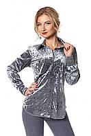 Удлиненная бархатная женская рубашка серого цвета
