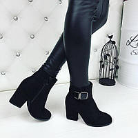 Женские демисезонные ботильоны чёрные на каблуках