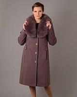 Зимнее женское пальто из кашемира с мехом