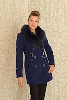 Женское пальто короткое с мехом, 42-54р