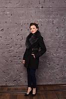 Черное женское пальто с мехом песца