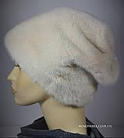 Норковая зимняя женская шапка черная