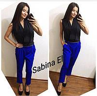 Стильный деловой комбез блуза + штаны на змейке чёрно - синий