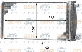 Радиатор печки Mercedes 207 (268*152мм по сотах) KEMP