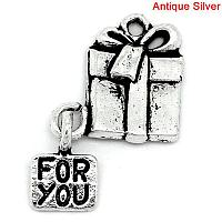 """Подвеска """" Коробочки для рождественских подарков """", """" FOR YOU"""" 26.0мм x 16.0мм, Металл, Античное серебро,"""