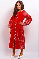 Нарядное платье вышитое льняное в народном стиле РОЗКІШ 2 ЧЕРВОНЕ  для девочки размеры 116, 122, 128, 134