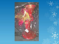 Подсвечник на 1 свечу с красно-золотыми украшениями, H -22 см