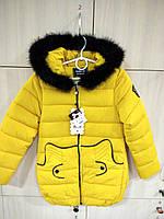 Куртка желтая на девочку еврозима с черным мехом