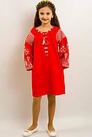 Нарядное платье вышитое льняное в народном стиле РОЗКІШ  ЧЕРВОНЕ  для девочки размеры 140, 146, 152, 158