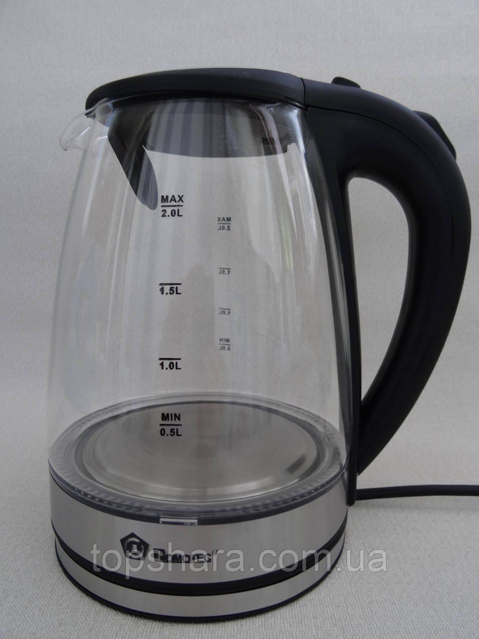 Электрочайник стеклянный Domotec MS 8110 черный 2 литра