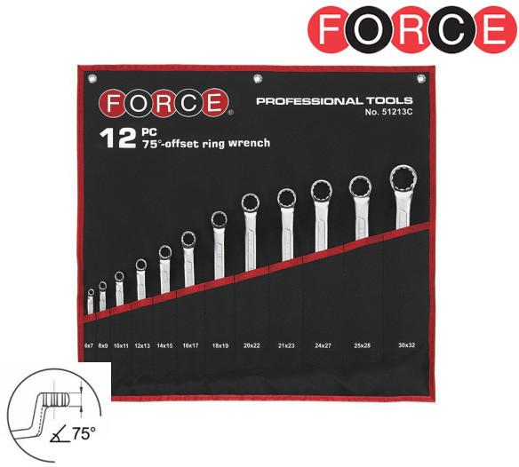 Набор ключей накидных отогнутых на 75° на полотне 12 пр. 6-32 мм (Force 51213P)