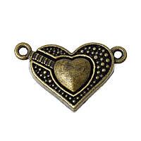 Магнитная застежка Сердце, Античная бронза, 25 мм x 16 мм