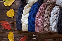 Женская утеплённая шапка с бубоном (8 цветов)