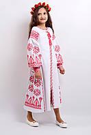 """Нарядное вышитое платье   РОЗКІШ 2""""БІЛЕ в пол в этническом стиле   для девочки  размеры  116, 122, 128, 134"""