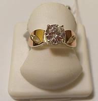 Серебряное женское кольцо с золотыми пластинами и цирконием Фаина