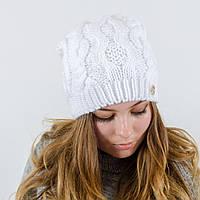 """Вязаная женская шапка, """"Натали"""" (Белый)"""