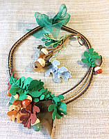 Агатовое колье, Колье ручной работы с желудями, Осенняя коллекция украшений MGS