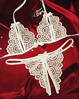 Эротическое белье комплект стринги и лиф с разрезами