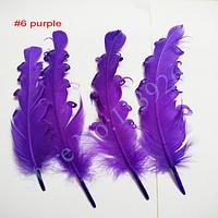 Перо гусиное, с завитками, 14-17 см,  цвет фиолетовый