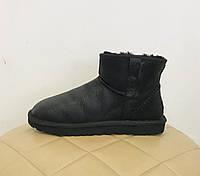 UGG Men's Mini Deco - Black Мужские угги мини кожаные черные (натуральная кожа!)