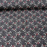 Ткань с ажурной веточкой и красным цветочком на графитовом фоне, ширина 145 см, фото 1
