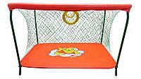 Манеж детский игровой KinderBox люкс Оранжевый мишка с крупной сеткой  мишка (km 551)
