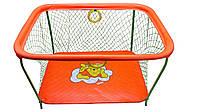 Манеж детский игровой KinderBox люкс Оранжевый мишка с крупной сеткой  мишка (km 551), фото 1